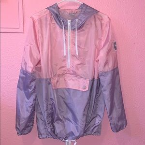 Pink and lavender windbreaker with half zip up